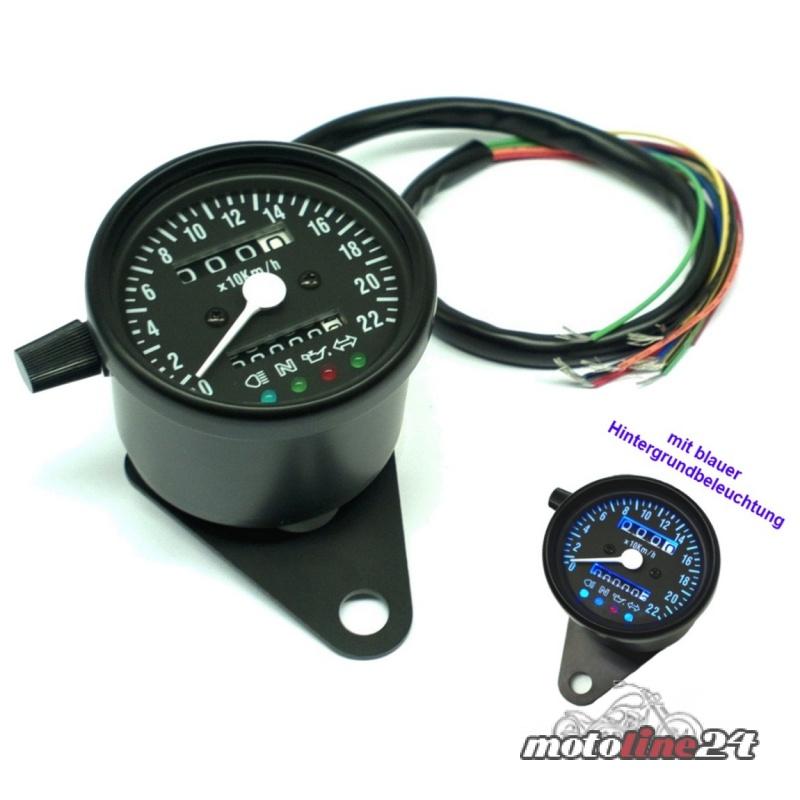mini tacho tachometer schwarz mit kontrollleuchten